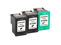 Novajet Refilled Ink Cartridge Replacement for hp 338 xl + hp 344 xl (Black, Color 3-Pack)