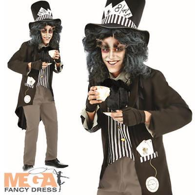 Bad Hatter Halloween Costume (Dark Bad Mad Hatter Mens Fancy Dress Gothic Fairy Tale Adults Halloween Costume)