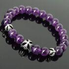Purple Sterling Silver Beaded Fine Gemstone Bracelets