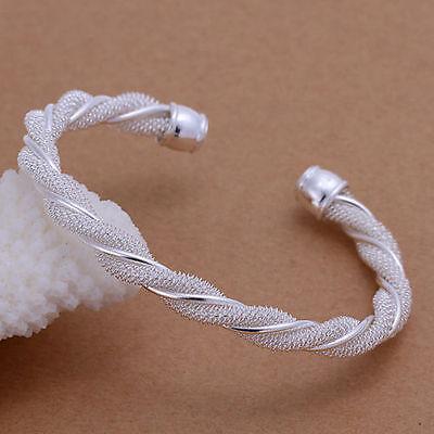 (Unisex 925 Sterling Silver Spiral Bracelet Adjustable Size )