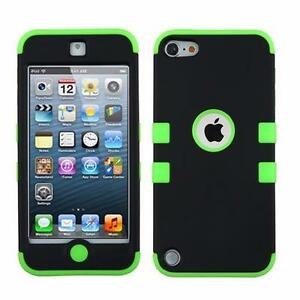 Apple iPod Touch 6 & 5 Generation Tough Heavy Duty Rugged Rubberized Armor Hybrid Protector Cover Case & Tempered Glass