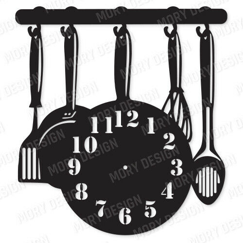 Kitchen Clock DXF CDR AI PDF EPS SVG Files For CNC Plasma Router Laser Cut Ready