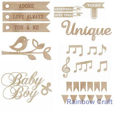 Kaisercraft Wooden Embellishments flourish Pack 18 wording / patterns U select