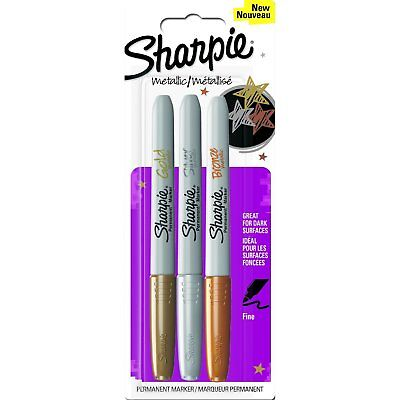 Sharpie Metallic Permanent Marker Pen Fine Gold, Silver and Bronze (set of 3)