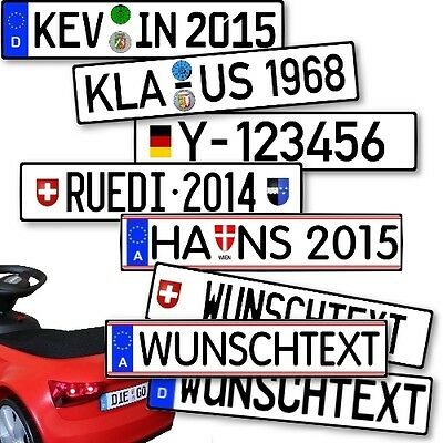 Wunsch-Kennzeichen für Kinderfahrzeuge Rutscher von BMW Porsche Opel und Andere