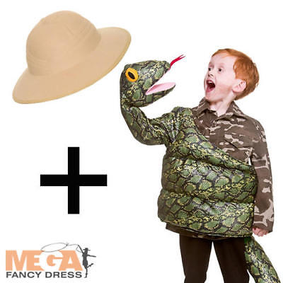 Snake Girl Costume (Green Snake + Safari Hat Kids Fancy Dress Childs Boys Girls Halloween Costume)