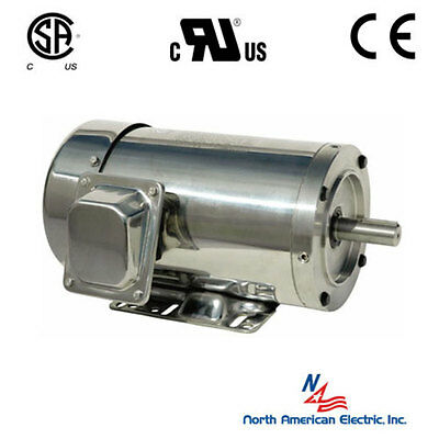 34 Hp Stainless Steel Electric Motor 56c 1200 Rpm 3 Phase Washdown With Base