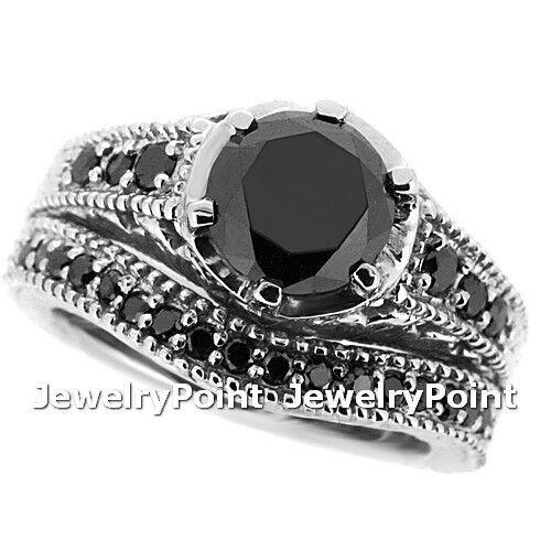 2.20ct Black Diamond Matching Engagement Ring Wedding Set 14k White Gold Antique