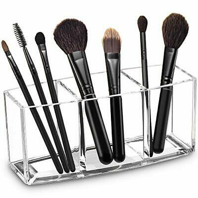 Acrylic Makeup Brush Organizer Holder Clear Cosmetic Brushes Storage with 3 S...