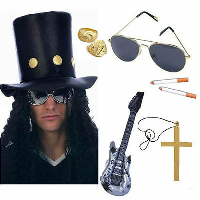 Slash Rocker 80er Gitarre Man Set Kostüm Hut Haar Waffen Rosen Ring Halskette ()