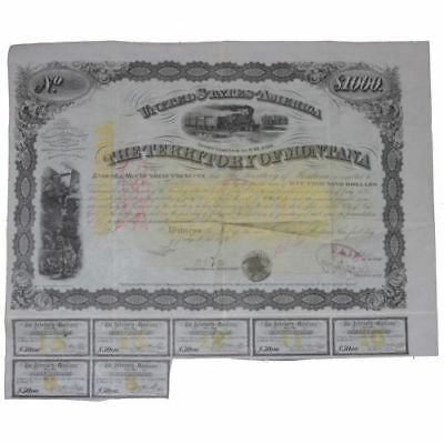 Territory of Montana $1000 Bond Issued July 1, 1876