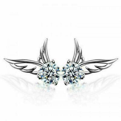 1 Pair Angel Wing Earrings Fashion Sparkle Women Silver Jewelry Crystal Ear Stud