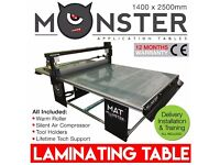 Flatbed Laminating Table - 1400 x 2500mm - With Air Compressor, Fluorescent Tubes, Warm Roller