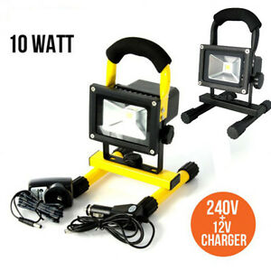 10W Rechargeable LED Flood Work Light Portable Caravan Camping Black/Yellow