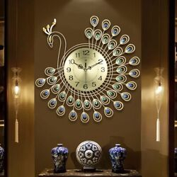 Large Wall Clock Bedroom Living Room Peacock Decorative Home Modern Big Office