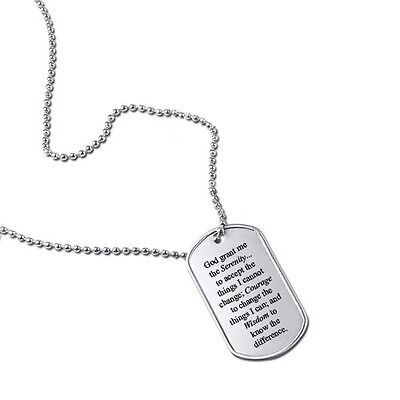 Serenity Prayer God Grant Me Military Dog Tag Keychain