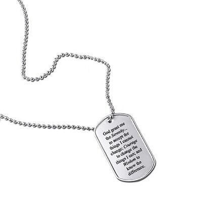 Serenity Prayer God Grant Me Military Dog Tag Keychain