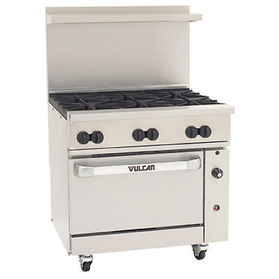 Vulcan 36s06b-n - 36w Endurance Natural Gas Range 6 Burners And 1 Bakers Oven