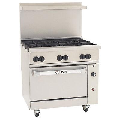 Vulcan 36s06b-n - 36w Endurance Natural Gas Range 6 Burners And 1 Bakers Oven
