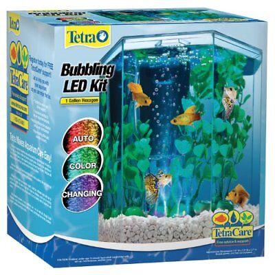 Tetra kit del acuario del hexagono 29040 con el Bubbler del LED 1gallon