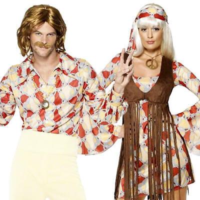 Mens 60's 70 S Kostüme (1960s Groovy Hippie Mens Ladies Fancy Dress 60s-70s Hippy Adult Sixties Costume)