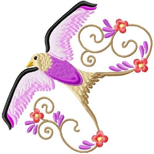 Embroidered Sweatshirt - Beautiful Birds PE03