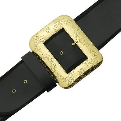 Halco Deluxe Santa Belt Black Naugahyde Gold Decorative Cast Buckle - 2 Sizes