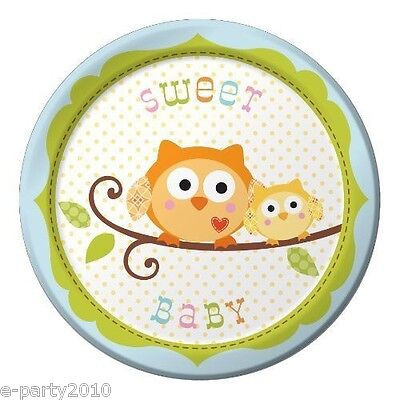 HAPPI TREE OWL BLUE SMALL PAPER PLATES (8) ~ Baby Shower Party Supplies Dessert](Owl Party Plates)