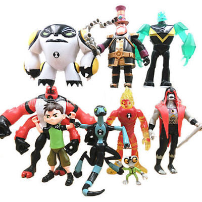 Lot 9 pcs Ben 10 Action Figure Play set Toy Cake Topper XLR8 Heatblast Four Arms (Ben 10 Cake Topper)