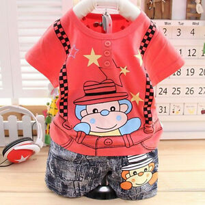Baby Boy Red Monkey & Suspenders Summer Outfit
