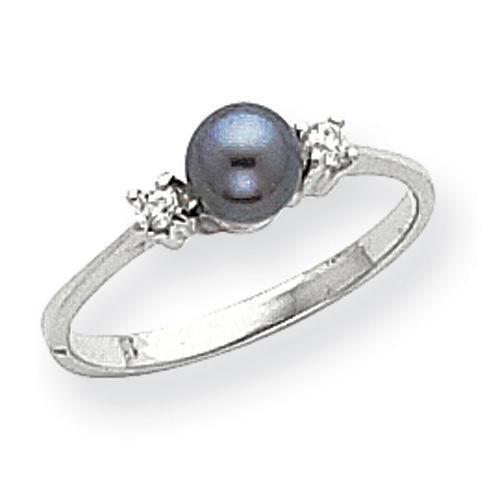 Platinum And Black Pearl Ring