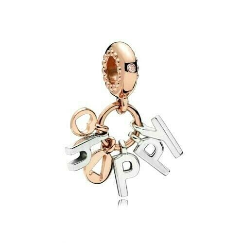 Authentic Pandora 14K Rose Gold Happy Letters Dangle Charm 787017NPO - $25.00