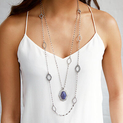 - Chloe + Isabel Modern Mosaic Long Station Necklace + Pendant Necklace N418 N419