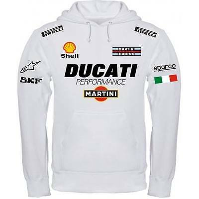 Sweatshirt Ducati Performance Italien Weiß Schwarz Polo Hemd T-Shirt Halsband Band Sweatshirt
