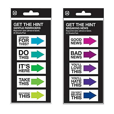 Get The Hint Funny Sticky Notes Adhesive Labels Gentle Reminders Breaking News