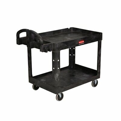 Rubbermaid Fg452088bla 2-shelf Utility Cart With Lipped Shelf Medium