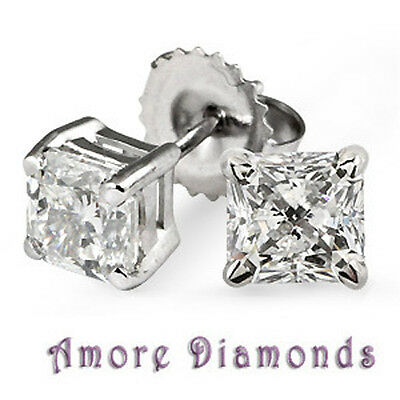 1.5 ct GIA F VVS princess cut diamond solitaire stud earrings platinum push back