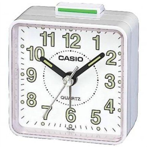Casio TQ140-7  Mini Beep Analogue Alarm Clock White-NEW