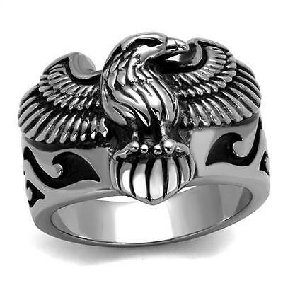 Patriotic Rings (Stainless Steel Eagle Biker USA Military Patriot Silver Tone)