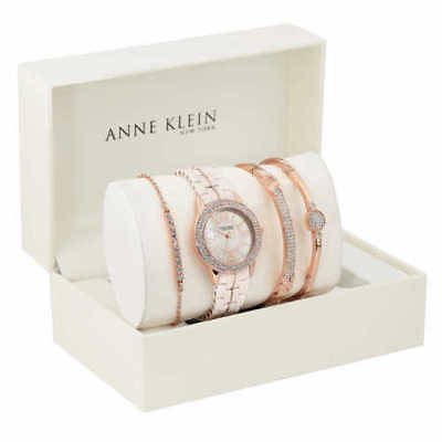 NEW Anne Klein New York Rose Gold Tone Ceramic Watch and Bangle Set 12/2298RGST