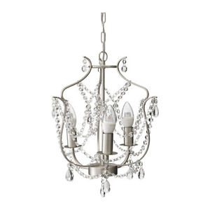 Chandelier, 3-armed, silver color, glass