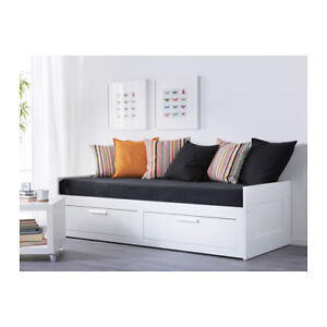 Ikea BRIMNES Daybed with 2 drawers and twin mattress- WHITE