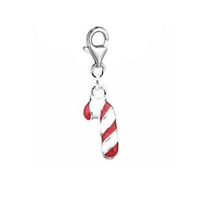 Christmas Candy Cane Charm Pendant for European Clip on Charm Jewelry with Lobst