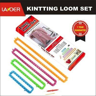 LAYOER Long Knitting Loom Set with Hook Needle Kit for Yarn Cord Knitter 4 PCS
