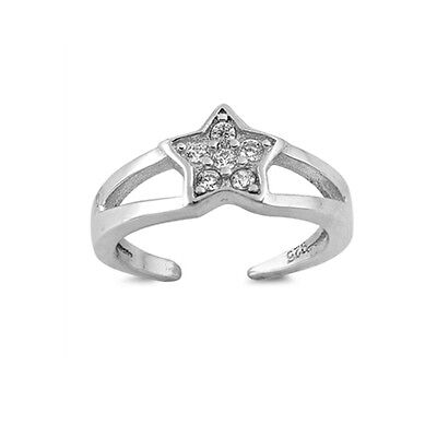 .925 Sterling Silver Classic Star Clear CZ Summer Toe Ring NEW