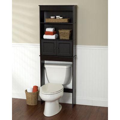 Espresso Bathroom Over the Toilet Shelf Wait Saver Wood Freestanding Cabinet