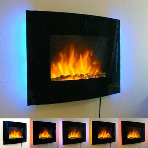 Slimline Wall Mounted Electric Fires: SLIM LED BACKLIT GLASS WALL MOUNTED FIREPLACE HEATER FLAME