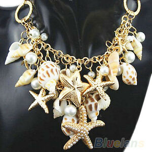 Charm-Chunky-Gold-Tone-Sea-Shell-Starfish-Faux-Pearl-Bib-Statement-Necklace-B27U