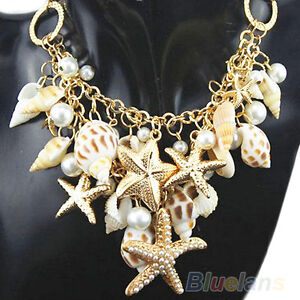 Beauty Vogue Gold Tone Sea Shell Starfish Faux Pearl Bib Statement Necklace BA7A