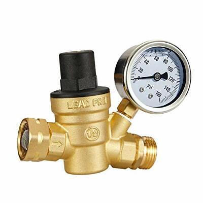 Esright Brass Water Pressure Regulator 3 4 Lead Free With Gauge For Rv Camper